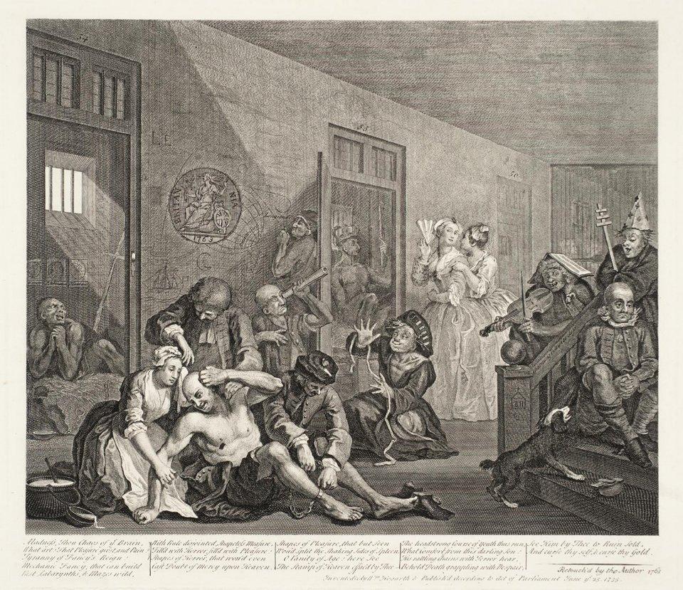 William Hogarth, 'Scene in a Madhouse', A Rake's Progress (plate 8) 1735–63