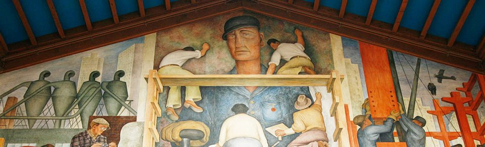 Diego Rivera Making of a Fresco, Showing the Building of a City 1931, detail showing the depiction of Viscount (Jack) Hastings and Clifford Wight