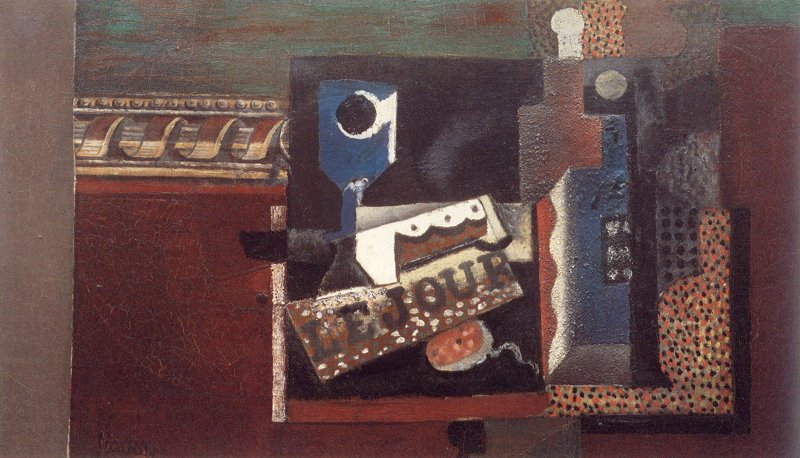 Pablo Picasso Glass, Newspaper and Bottle 1914