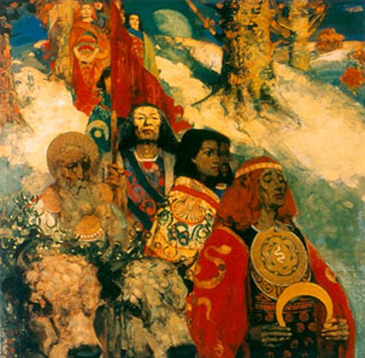 E. A. Hornel and George Henry The Druids Bringing in the Mistletoe 1890