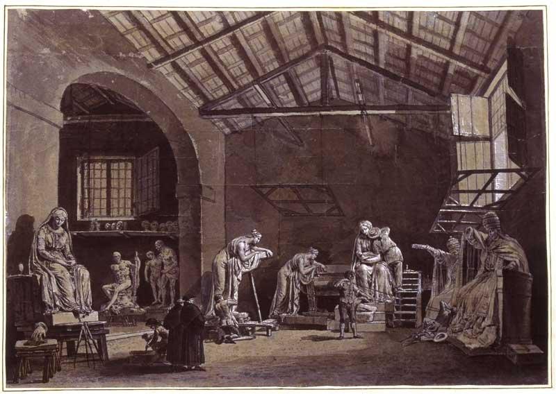 Watercolour by Francesco Chiarottini depicting the interior of Antonio Canova's Studio in Rome c.1782