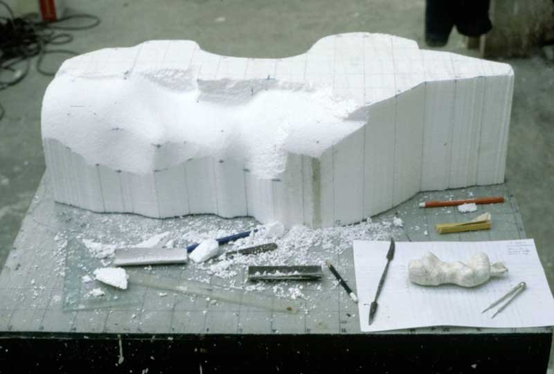 Henry Moore's polystyrene enlargement in process, Perry Green, late 1960s