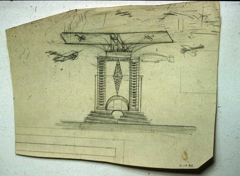 Naum Gabo Sketch for a Tower with an Aircraft Carrier Platform c.1924