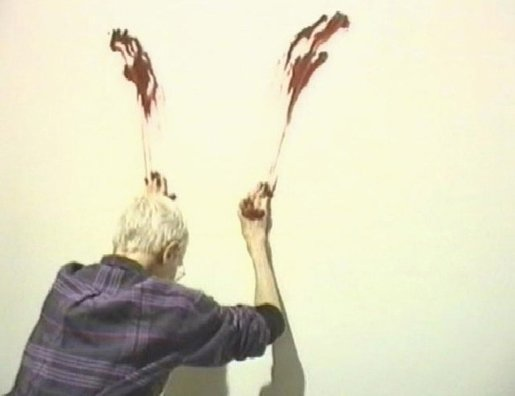 Film still from Irene Sosa's documentary video Nancy Spero: Homage to Ana Mendieta
