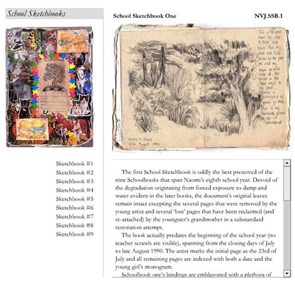 Page from Jamie Shovlin's online resource Naomi V. Jelish