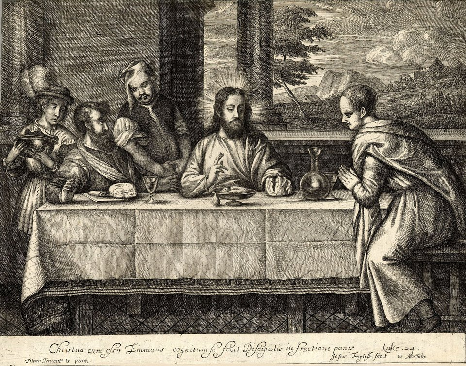 Josias English Supper at Emmaus (after Titian) c.1649–56