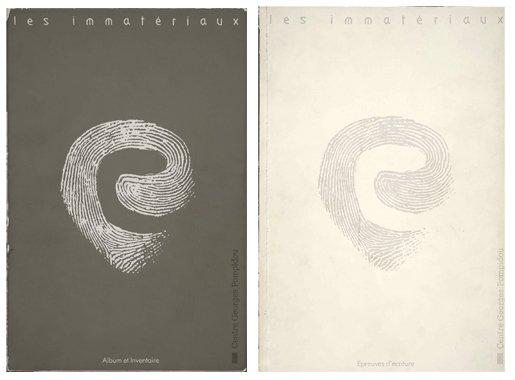 Les Immatériaux exhibition catalogues (left: Album and Inventaire; right: Épreuves d'écriture) 1985