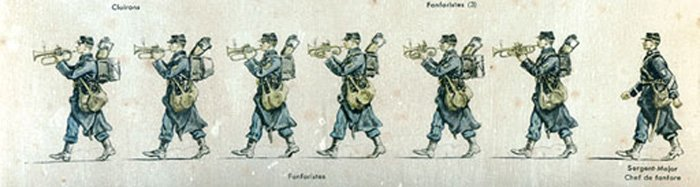 Planche 7: Chasseurs à pied (la fanfare) (Plate 7: Light Infantry) [composition of the regimental fanfare] Illustration from Jean Augé, L'Armée française d'Août 1914, Paris 1935
