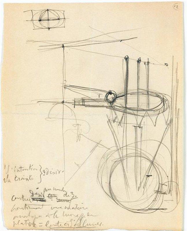 """Marcel Duchamp Note autographe pour """"Le grand verre"""" : 1 l'intention, 2 la crainte, 3 le désir, 1912–68"""