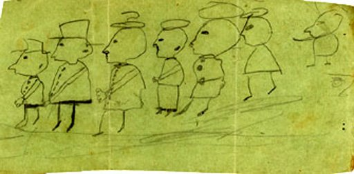 Marcel Duchamp Parade: Seven People in Profile with Hats 1892