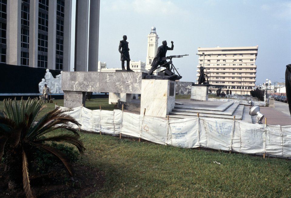 Monument to the Defenders of Veracruz Against the U.S. Marines in 1914. Pemex Headquarters, Malecón, March 1994, from Fish Story 1989–1995