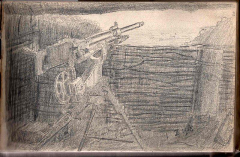 Raoul Trémolières Mitrailleuse de la Manufacture de Saint Étienne (St Étienne Machine Gun) 1915