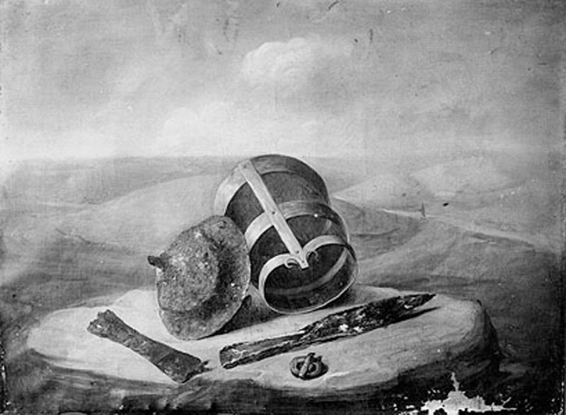 Thomas Guest Grave group from a surface interment at Winterslow, bucket, shield boss and dagger; landscape background [Saxon] 1814