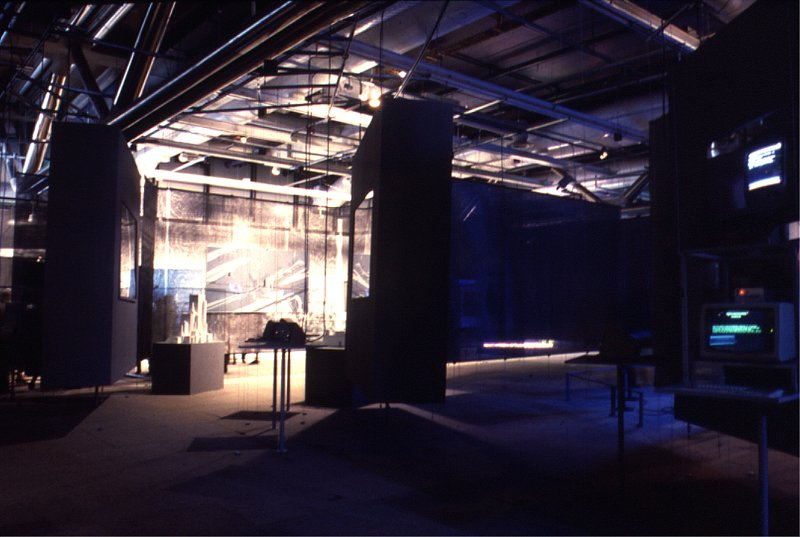 'Tous les auteurs' site, the exhibition's concluding area, where the visitor could participate in real time in various digital writing experiments
