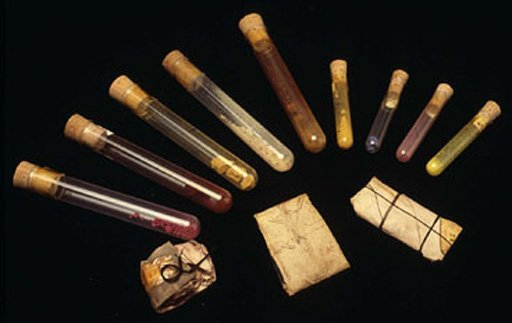 A selection of the sixty and more dry pigments found in Turner's studio after his death