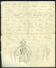 Illustrated letter from Paul Nash to his sister describing the trenches, snipers and wildlife