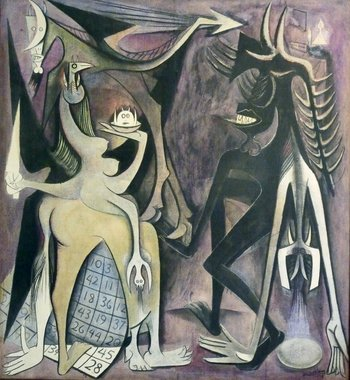 Image of Wifredo Lam's painting Bélial, Emperor of the Flies Bélial, empereur des mouches 1948