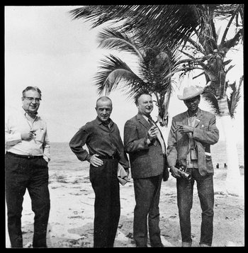 1968, Claude Couffon, Michel Leiris, Max Pol Fouchet and Lam in Isabela de Sagua, Cuba