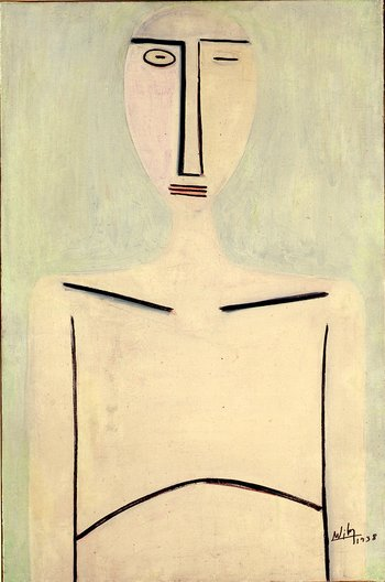 Image of Wifredo Lam's painting Young Woman on a Light Green Background from 1938