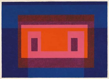 Josef Albers Variant, '4 Central Warm Colors Surrounded by 2 Blues' 1948