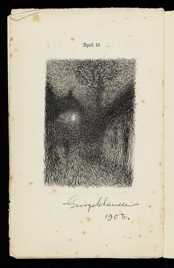 A sketch drawing of a forest on the page of a book