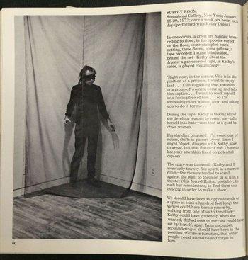 Vito Acconci, 'Supply Room', Avalanche, Fall 1972, p.60
