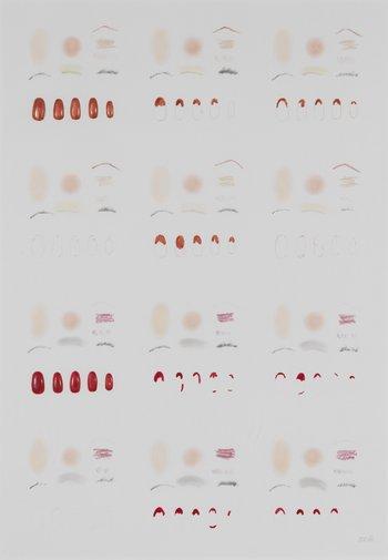 Běla Kolářová, Seekers of Lice I, 1976, acrylic nails, nail varnish and cosmetics on paper, 55.7 x 38.5 cm