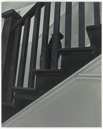 Gillian Carnegie Prince 2011–12 showing a monochromatic painting of a cat on a staircase