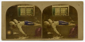 Stereoscopic photo of James Robinson's The Death of Chatterton