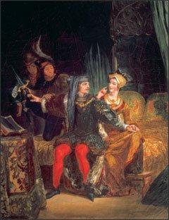 Eugène Delacroix Charles VI and Odette de Champdivers about 1825