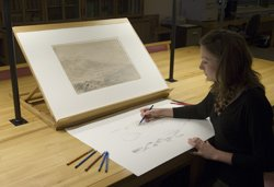Drawing from a Turner original in the Prints and Drawings Room at Tate Britain