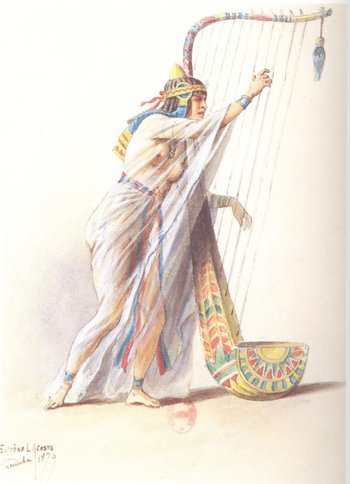Pierre-Eugène Lacoste 'Harp Player' costume design (1879–1880) for the Paris Opening of Aida at the Opéra de Paris