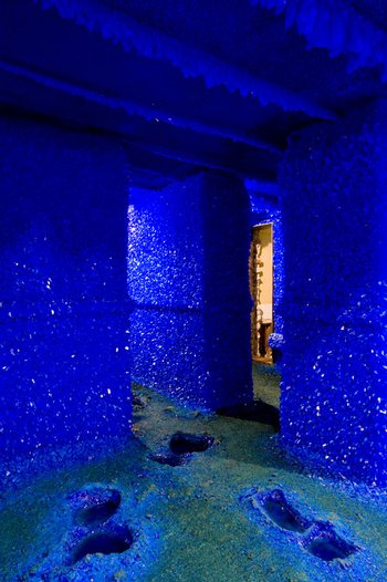Enrico David Seizure 2008 interior view of a flat covered in blue crystals from floor to ceiling