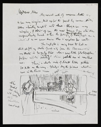 Handwritten letter from Walter Sickert which has a sketch at the bottom of it
