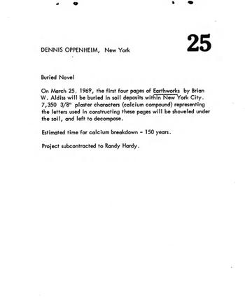 Dennis Oppenheim, Buried Novel 1969