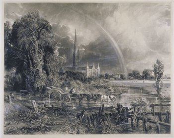 David Lucas after John Constable Salisbury Cathedral from the Meadows – 'The Rainbow' 1837
