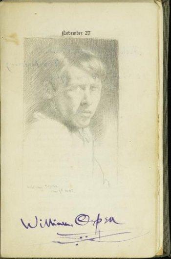 William Orpen, self-portrait sketch and signature, c. 1902, Tate Archive