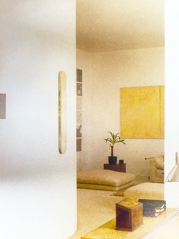 Interior view of Max Gordon's flat at 120 Mount Street, Mayfair, London, c.1980, with a section of Surface Substitution on 36 Plates seen hanging on the far wall