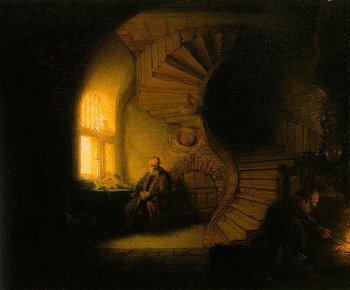 Rembrandt van Rijn Philosopher in Meditation (Old Man in an Interior with Winding Staircase) 1632