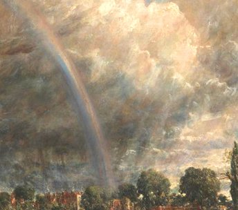 John Constable, Salisbury Cathedral from the Meadows, detail showing crepuscular rays