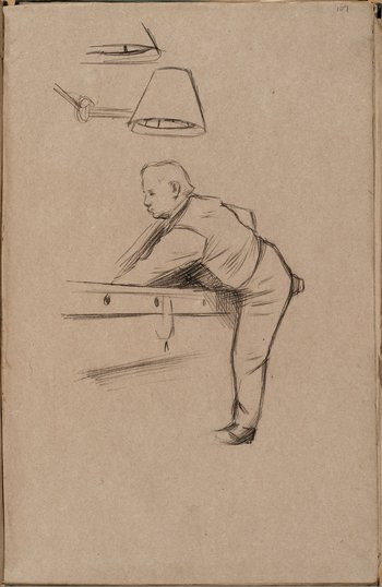 William Rothenstein Man Playing Pool c.1890