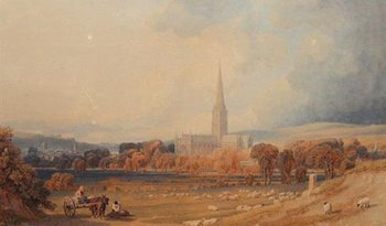 George Fennel Robson South-West View of the City of Salisbury 1827
