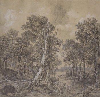 Thomas Gainsborough, Landscape after 'La Forêt' by Jacob van Ruisdael 1746–7