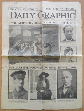 'Girl Artist Remodels the Flood', Daily Graphic, vol.125, no.97, 8 February 1921, p.1