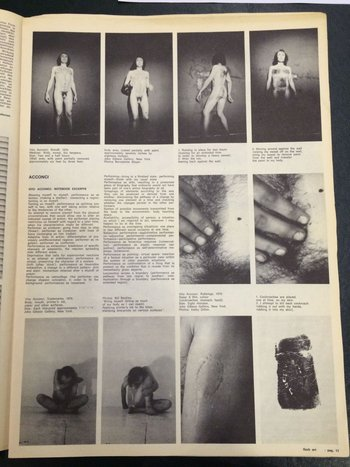 Vito Acconci, 'Notebook Excerpts', Flash Art, May 1971, p.11