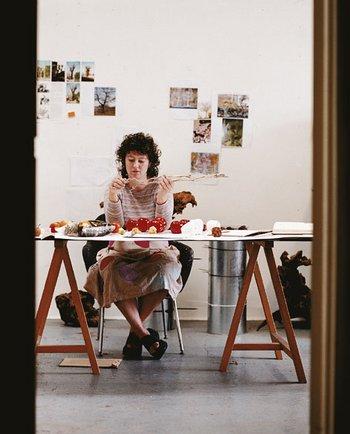Photograph of Anya Gallaccio at work in her London studio