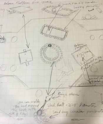 Detail of Robert Morris's hand-drawn, aerial-view plan 1971