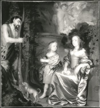 John Hayls, A Portrait of a Lady and a Boy with Pan 1655-9 infra red photograph