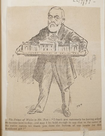 Henry Tate gifting the National Gallery of British Art to the nation, Pall Mall Gazette, 21 July 1897