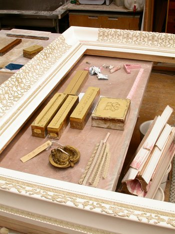 View of frame and polyester resin moulds